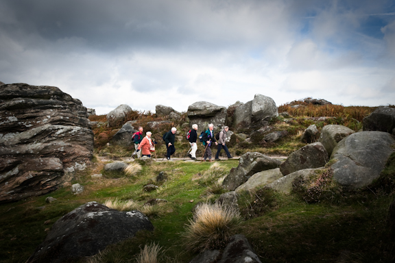 A group of walkers take the footpath south on top of Froggatt Edge.