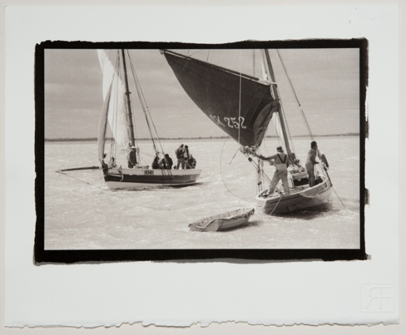 Boadicea CK213 and Mary CK252 Essex Smacks dredging for oysters of West Mersea, Essex. A Platinum toned Salt Print.