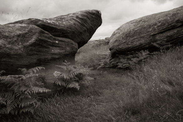 The Millstone Grit outcrop of Higger Tor in the Day Peak of Derbyshire